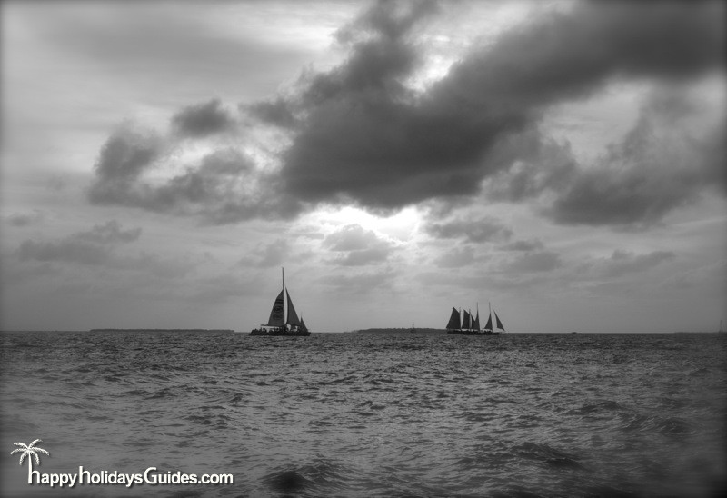fort zachary taylor state park sunset b&w